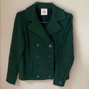 Cabi hunter green double breasted knit jacket